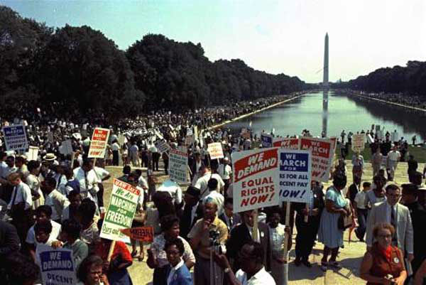 "The crowds seen at the march on Washington, D.C. in which Dr. Martin Luther King gave his eloquent ""I have a dream..."" speech to a million - thronged mall on August 28, 1963. (AP Photo)"