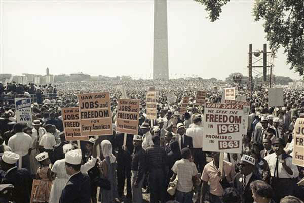 Large crowds gather at the Lincoln Memorial to demonstrate for the civil rights movement in Washington, D.C. on August 28, 1963. (AP Photo)