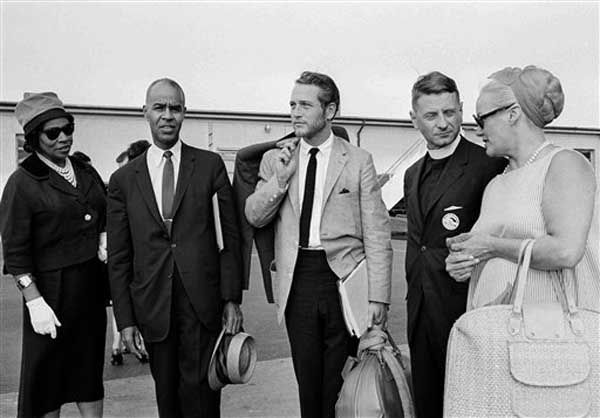 Group which arrived at Washington&#39;s National Airport, Aug. 27, 1963, to participate in tomorrow&#39;s massive March On Washington civil rights demonstration at the nation&#39;s capital. From left: opera singer Marian Anderson; Roy Wilkins, executive secretary of the NAACP; actor Paul Newman; Rev. Robert Spike of the National Council of Churches in New York City; and actress Faye Emerson.  &#40;AP Photo&#47;William J. Smith&#41; <span class=meta>(Photo&#47;William J. Smith)</span>
