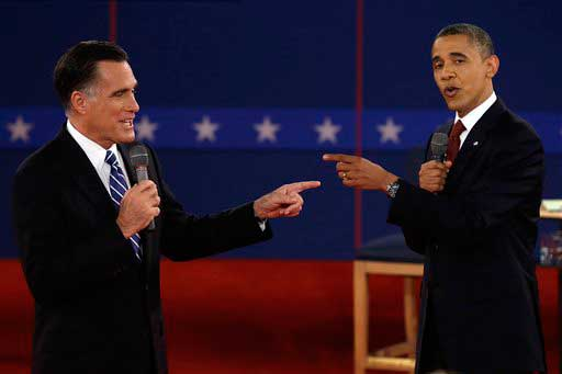 In this Tuesday, Oct. 16, 2012 file photo, Republican presidential nominee Mitt Romney and President Barack Obama spar during the second presidential debate at Hofstra University, in Hempstead, N.Y.  <span class=meta>(AP photo)</span>