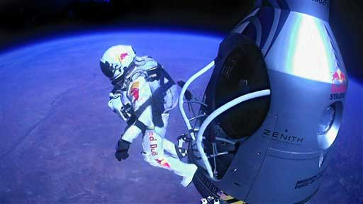 This Sunday, Oct. 14, 2012 file image provided by Red Bull Stratos shows pilot Felix Baumgartner of Austria as he jumps out of the capsule during the final manned flight for Red Bull Stratos. In a giant leap from more than 24 miles up, Baumgartner shattered the sound barrier Sunday while making the highest jump ever &#243; a tumbling, death-defying plunge from a balloon to a safe landing in the New Mexico desert.  <span class=meta>(AP photo)</span>
