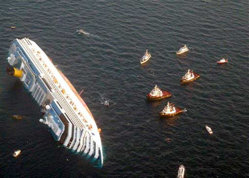 In this Saturday, Jan. 14, 2012 file photo released by the Guardia di Finanza &#40;border Police&#41;, the luxury cruise ship Costa Concordia leans on its side after running aground the tiny Tuscan island of Giglio, Italy.   <span class=meta>(AP photo)</span>