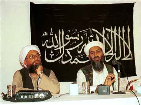 FILE - In this 1998 file photo, Ayman al-Zawahri, left, holds a press conference with Osama bin Laden in Khost, Afghanistan and made available Friday March 19, 2004. A person familiar with developments said Sunday, May 1, 2011 that bin Laden is dead and the U.S. has the body. &#40;AP Photo&#47;Mazhar Ali Khan&#41; <span class=meta>(AP Photo&#47; MAZHAR ALI KHAN)</span>