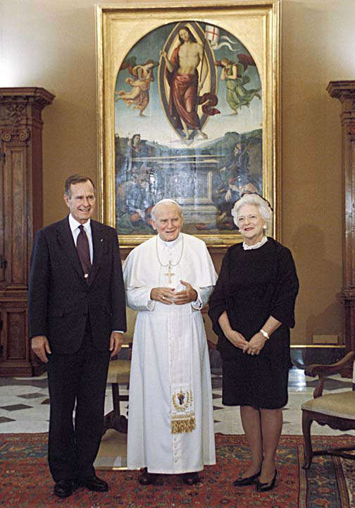 "<div class=""meta image-caption""><div class=""origin-logo origin-image ""><span></span></div><span class=""caption-text"">President and Mrs Bush with The Pope  Photos provided by: George Bush Presidential Library and Museum</span></div>"