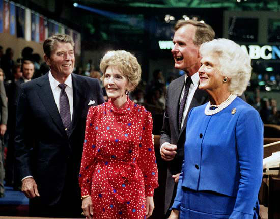 "<div class=""meta ""><span class=""caption-text "">Vice President and Mrs. Bush with President and Mrs. Reagan at the 1984 Republican National Convention in Dallas, Texas.   Photos provided by: George Bush Presidential Library and Museum  (Photo/David Valdez)</span></div>"