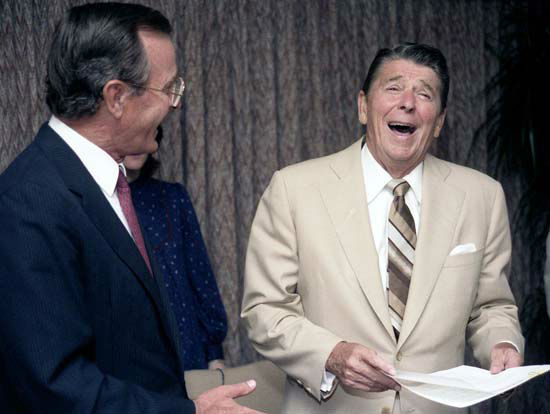"<div class=""meta image-caption""><div class=""origin-logo origin-image ""><span></span></div><span class=""caption-text"">President Bush and Vice President Reagan go over campaign documents during the Republican National Convention in Dallas, Texas on August 23, 1984.   Photos provided by: George Bush Presidential Library and Museum  (Photo/David Valdez)</span></div>"