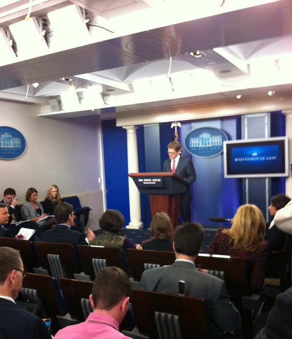 "<div class=""meta ""><span class=""caption-text "">The White House Press briefing is underway. Greek debt and bank debit card charges are the top questions. It's a small room and very warm!</span></div>"