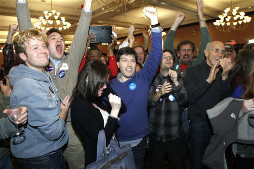 People celebrate on hearing that President Barack Obama is predicted to win the election on Tuesday, Nov. 6, 2012 in Burlington, Vt.    <span class=meta>(AP Photo&#47; Toby Talbot)</span>