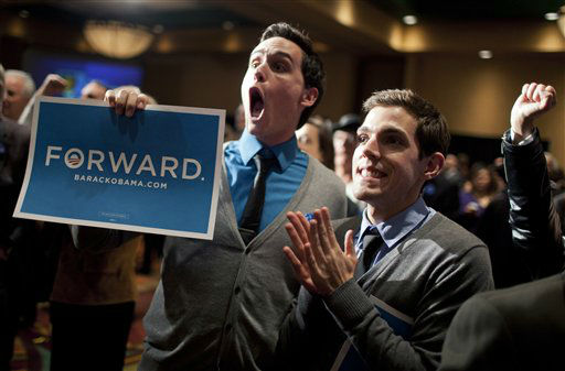 New Mexico democrats including Clint Milhollin, left, and his boyfriend Will Toledo, celebrate at the Embassy Suites Tuesday, Nov. 6, 2012, in Albuquerque, NM.   <span class=meta>(AP Photo&#47; Craig Fritz)</span>