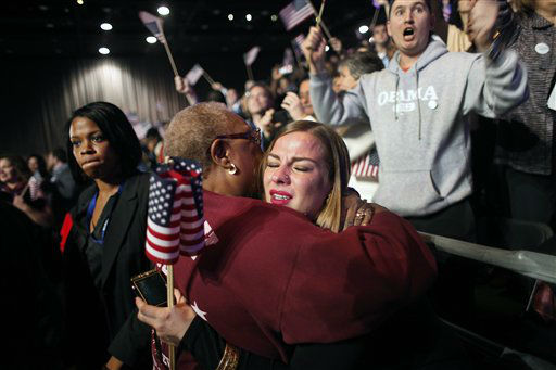 Supporters of President Barack Obama react to favorable media projections at the McCormick Place during an election night watch party in Chicago on Tuesday, Nov. 6, 2012.   <span class=meta>(AP Photo&#47; Jerome Delay)</span>