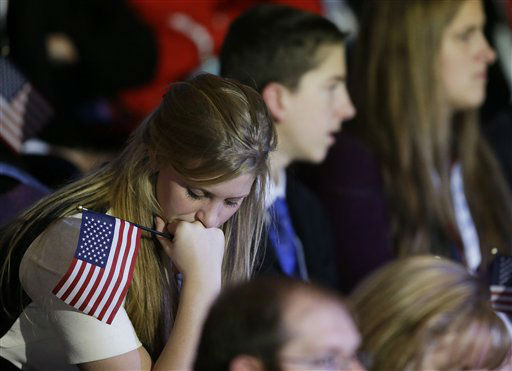 "<div class=""meta ""><span class=""caption-text "">A supporter reacts to voting results displayed on a television screen during Republican presidential candidate and former Massachusetts Gov. Mitt Romney's election night rally, Tuesday, Nov. 6, 2012, in Boston.   (AP Photo/ David Goldman)</span></div>"