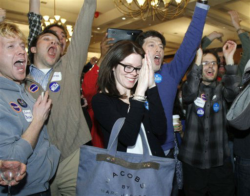 "<div class=""meta ""><span class=""caption-text "">People celebrate on hearing that President Barack Obama is predicted to win the election on Tuesday, Nov. 6, 2012 in Burlington, Vt.   (AP Photo/ Toby Talbot)</span></div>"