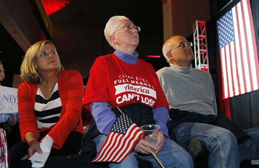 From left, Republicans Shelley Moats of Highlands Ranch, Colo., joins Denise and Bill Fung, both of Centennial, Colo., in watching a big-screen television as results of Republican presidential candidate Mitt Romney&#39;s fortunes are reported during a Republican Party election night gathering in the club level of Sports Authority Field at Mile High in Denver on Tuesday, Nov. 6, 2012.   <span class=meta>(AP Photo&#47; David Zalubowski)</span>
