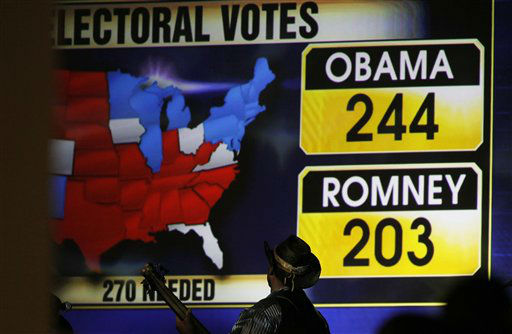 As the mounting electoral college votes for President Barack Obama are shown behind him, a member of the band turns to look at the screen during a Republican Party election night gathering in the club level of Sports Authority Field at Mile High in Denver on Tuesday, Nov. 6, 2012.   <span class=meta>(AP Photo&#47; David Zalubowski)</span>