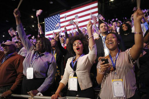 "<div class=""meta ""><span class=""caption-text "">Supporters of President Barack Obama react to favorable media projections at the McCormick Place during an election night watch party in Chicago on Tuesday, Nov. 6, 2012.  (AP Photo/ Jerome Delay)</span></div>"