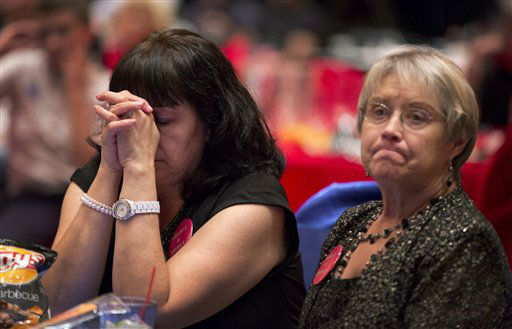 Mitt Romney supporter and campaign volunteer Lynn Short, right, and a supporter who wished not to be identified, react as they watch presidential election returns at a GOP watch party, Tuesday, Nov. 6, 2012, in Las Vegas. &#40;AP Photo&#47;Julie Jacobson&#41; <span class=meta>(AP Photo&#47; Julie Jacobson)</span>