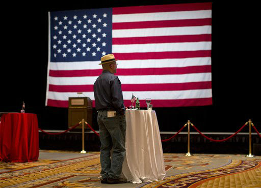 Republican presidential candidate, former Massachusetts Gov. Mitt Romney supporter Nathan White watches presidential returns during a GOP watch party, Tuesday, Nov. 6, 2012, in Las Vegas. &#40;AP Photo&#47;Julie Jacobson&#41; <span class=meta>(AP Photo&#47; Julie Jacobson)</span>