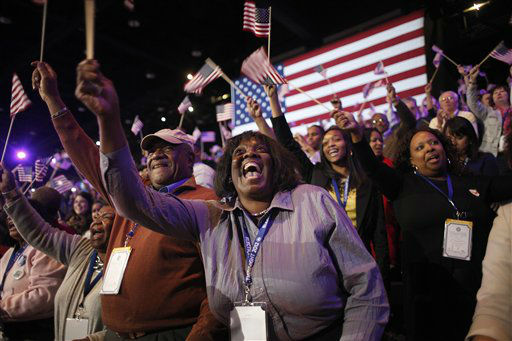 Supporters of President Barack Obama react to favorable media projections at the McCormick Place during an election night watch party in Chicago on Tuesday, Nov. 6, 2012. &#40;AP Photo&#47;Jerome Delay&#41; <span class=meta>(AP Photo&#47; Jerome Delay)</span>