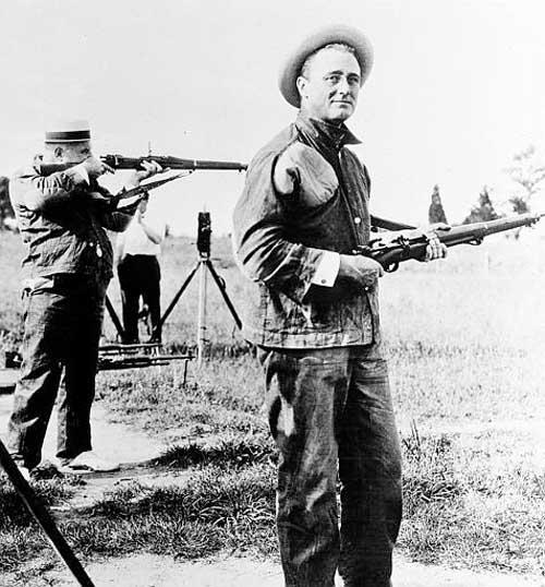 Assistant Secretary of the Navy Franklin D. Roosevelt is seen in 1917, shooting the rifle course with the Marines at Winthrop, Md., rifle range. (AP Photo/U.S. Navy)