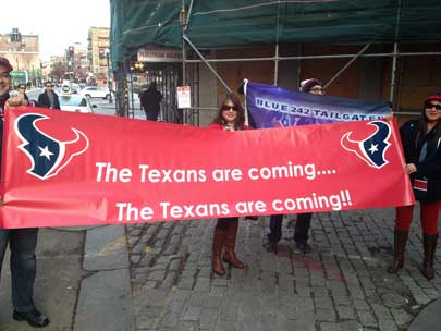 Check out these photos of Texans fans who've invaded New England for the showdown with the Patriots.  Send your fan photos to us at news@abc13.com and we'll post them here.