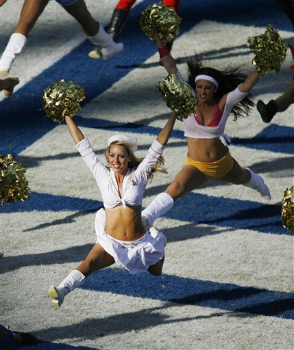San Diego Chargers cheerleaders perform in Halloween costumes during the third quarter of the NFL football game between the Houston Texans and the San Diego Chargers Sunday, Oct. 28, 2007 in San Diego.   <span class=meta>(AP Photo&#47; Denis Poroy)</span>