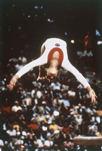 Fifteen-year-old Olga Korbut of the USSR shows in floor exercises the grace which won her the gold medal in women&#39;s individual gymnastics at the 1972 Olympic Games in Munich. &#40;AP Photo&#41; <span class=meta>(AP Photo&#47; XJFM)</span>