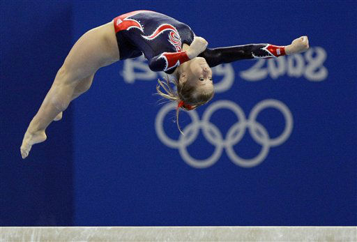 U.S. gymnast Shawn Johnson performs on the balance beam during the gymnastics apparatus finals at the Beijing 2008 Olympics  in Beijing, Tuesday, Aug. 19, 2008. Johnson won the gold medal.  &#40;AP Photo&#47;Matt Dunham&#41; <span class=meta>(AP Photo&#47; Matt Dunham)</span>