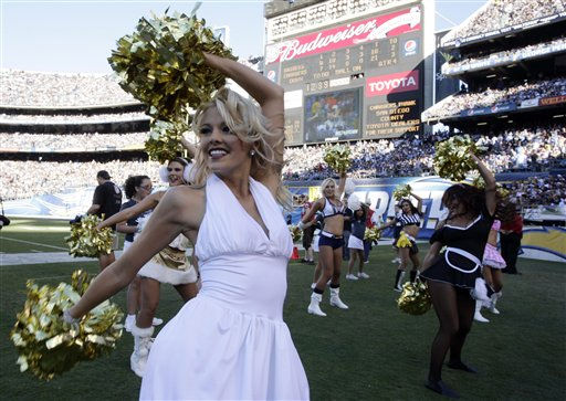 "<div class=""meta ""><span class=""caption-text "">San Diego Chargers cheerleaders cheer in Halloween costumes during an NFL football game against the Oakland Raiders Sunday, Nov. 1, 2009 in San Diego.   (AP Photo/ Denis Poroy)</span></div>"