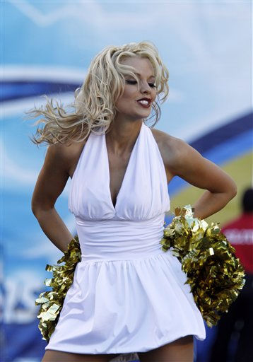 A San Diego Chargers cheerleader cheers in Halloween costumes during an NFL football game against the Oakland Raiders Sunday, Nov. 1, 2009 in San Diego.   <span class=meta>(AP Photo&#47; Denis Poroy)</span>