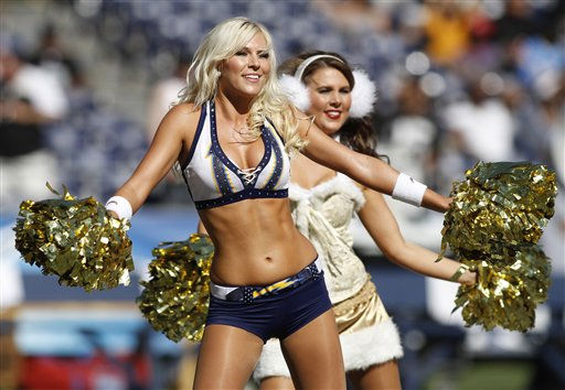 "<div class=""meta ""><span class=""caption-text "">A San Diego Chargers cheerleaders cheer in Halloween costumes during an NFL football game against the Oakland Raiders Sunday, Nov. 1, 2009 in San Diego.   (AP Photo/ Denis Poroy)</span></div>"
