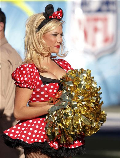 A San Diego Chargers cheerleader in a Halloween costume during an NFL football game between the Oakland Raiders and the San Diego Chargers Sunday, Nov. 1, 2009 in San Diego.   <span class=meta>(AP Photo&#47; Denis Poroy)</span>