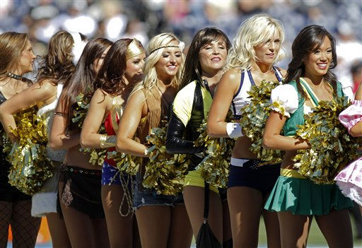 "<div class=""meta ""><span class=""caption-text "">San Diego Chagers cheerleaders in Halloween costumes during an NFL football game between the Oakland Raiders and the San Diego Chargers Sunday, Nov. 1, 2009 in San Diego.   (AP Photo/ Denis Poroy)</span></div>"