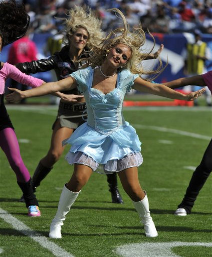 Tennessee Titans cheerleaders dressed in Halloween costumes perform in the second quarter of an NFL football game against the Philadelphia Eagles on Sunday, Oct. 24, 2010, in Nashville, Tenn.  <span class=meta>(AP Photo&#47; Frederick Breedon)</span>