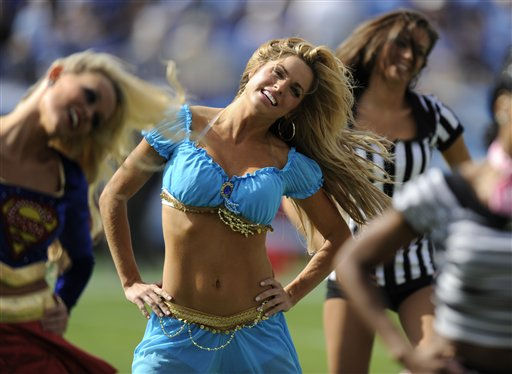 "<div class=""meta ""><span class=""caption-text "">Tennessee Titans cheerleaders dressed in Halloween costumes perform in the second quarter of an NFL football gameagainst the Philadelphia Eagles on Sunday, Oct. 24, 2010, in Nashville, Tenn.  (AP Photo/ Joe Howell)</span></div>"