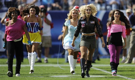Tennessee Titans cheerleaders wearing Halloween costumesnperform during an NFL football game against the Philadelphia Eagles on Sunday, Oct. 24, 2010, in Nashville, Tenn. The Titans won 37-19. <span class=meta>(AP Photo&#47; Frederick Breedon)</span>
