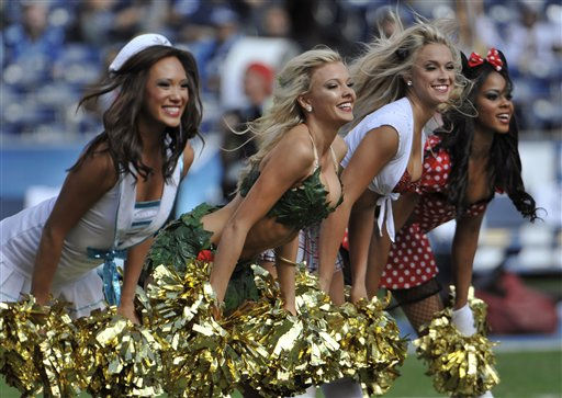 San Diego Chargers cheerleaders dressed in Halloween costumes cheer during an NFL football game against the Tennessee Titans  Sunday, Oct. 31, 2010 in San Diego.  <span class=meta>(AP Photo&#47; Denis Poroy)</span>