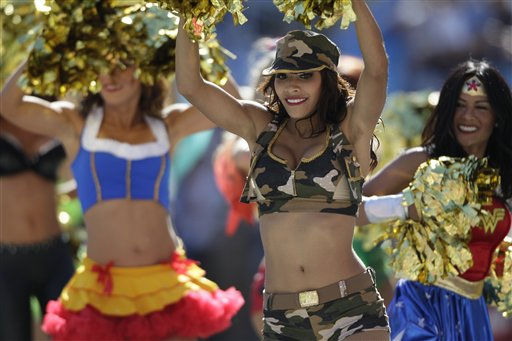 "<div class=""meta ""><span class=""caption-text "">San Diego Chargers cheerleaders in Halloween costumes during the first half of an  NFL football game between the San Diego Chargers and Tennessee Titans Sunday, Oct. 31, 2010, in San Diego.  (AP Photo/ Gregory Bull)</span></div>"