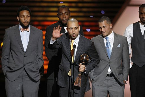 "<div class=""meta image-caption""><div class=""origin-logo origin-image ""><span></span></div><span class=""caption-text"">The Virginia Commonwealth University (VCU) basketball team accepts the award for Best Upset at the ESPY Awards on Wednesday, July 13, 2011, in Los Angeles. (AP Photo/Matt Sayles) (AP Photo/ Matt Sayles)</span></div>"