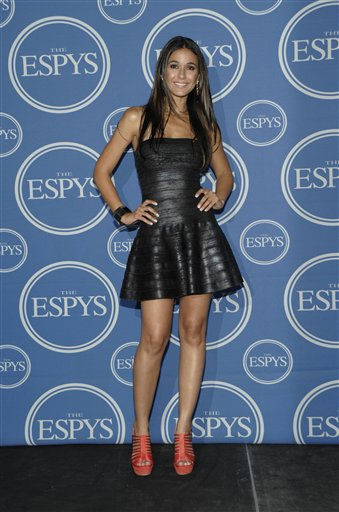 "<div class=""meta ""><span class=""caption-text "">Actress Emmanuelle Chriqui backstage at the ESPY awards on Wednesday, July 13, 2011, in Los Angeles. (AP Photo/Dan Steinberg) (AP Photo/ Dan Steinberg)</span></div>"