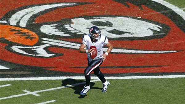Houston Texans quarterback Matt Schaub &#40;8&#41; tolls out looking to pass during the first quarter of an NFL football game against the Tampa Bay Buccaneers Sunday, Nov. 13, 2011, in Tampa, Fla. &#40;AP Photo&#47;Margaret Bowles&#41; <span class=meta>(AP Photo&#47; Margaret Bowles)</span>
