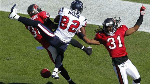 "<div class=""meta image-caption""><div class=""origin-logo origin-image ""><span></span></div><span class=""caption-text"">Tampa Bay Buccaneers free safety Tanard Jackson (36) and defensive back E.J. Biggers break up a pass intedned for Houston Texans wide receiver Derrick Mason (82) during the first quarter of an NFL football game Sunday, Nov. 13, 2011, in Tampa, Fla. (AP Photo/Margaret Bowles) (AP Photo/ Margaret Bowles)</span></div>"