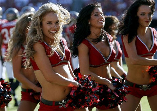 "<div class=""meta image-caption""><div class=""origin-logo origin-image ""><span></span></div><span class=""caption-text"">Tampa Bay Buccaneers cheerleaders during the third quarter of an NFL football game against the Houston Texans Sunday, Nov. 13, 2011, in Tampa, Fla. (AP Photo/Chris O'Meara) (AP Photo/ Chris O'Meara)</span></div>"