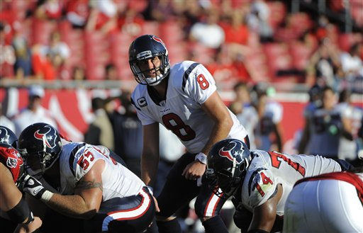 Houston Texans quarterback Matt Schaub &#40;8&#41; directs the offense during an NFL football game against the Tampa Bay Buccaneers Sunday, Oct. 16, 2011, in Tampa, Fla. &#40;AP Photo&#47;Brian Blanco&#41; <span class=meta>(AP Photo&#47; Brian Blanco)</span>