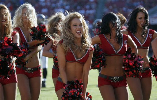 Tampa Bay Buccaneers cheerleaders preform during the third quarter of an NFL football game against the Houston Texans Sunday, Nov. 13, 2011, in Tampa, Fla. &#40;AP Photo&#47;Chris O&#39;Meara&#41; <span class=meta>(AP Photo&#47; Chris O&#39;Meara)</span>