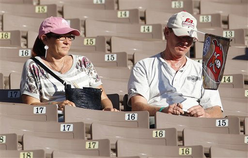 "<div class=""meta ""><span class=""caption-text "">Two disappointed diehard Tampa Bay Buccaneers fan sit alone at the end of the game between the Houston Texans and the Buccaneers.  The Texans defeated the Buccaneers 37-9 in an NFL preseason game Sunday, November 13, 2011 in Tampa, Fla.  (AP Photo/Margaret Bowles) (AP Photo/ Margaret Bowles)</span></div>"