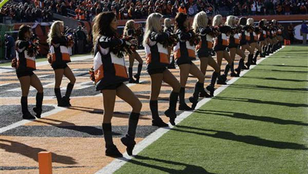 "<div class=""meta ""><span class=""caption-text "">Cincinnati Bengals cheerleaders perform during the first half of an NFL football game against the Houston Texans, Sunday, Dec. 11, 2011, in Cincinnati. (AP Photo/Al Behrman) (AP Photo/ Al Behrman)</span></div>"