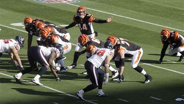 "<div class=""meta ""><span class=""caption-text "">Cincinnati Bengals quarterback Andy Dalton (14) calls a play against the Houston Texans in the first half of an NFL football game, Sunday, Dec. 11, 2011, in Cincinnati. (AP Photo/David Kohl) (AP Photo/ David Kohl)</span></div>"