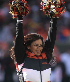 "<div class=""meta ""><span class=""caption-text "">A Cincinnati Bengals cheerleader performs in the first half of an NFL football game against the Houston Texans, Sunday, Dec. 11, 2011, in Cincinnati. (AP Photo/Tony Tribble) (AP Photo/ Tony Tribble)</span></div>"