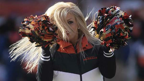 "<div class=""meta image-caption""><div class=""origin-logo origin-image ""><span></span></div><span class=""caption-text"">A Cincinnati Bengals cheerleader performs in the first half of an NFL football game against the Houston Texans, Sunday, Dec. 11, 2011, in Cincinnati. (AP Photo/Tony Tribble) (AP Photo/ Tony Tribble)</span></div>"