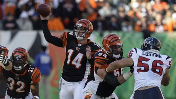 "<div class=""meta image-caption""><div class=""origin-logo origin-image ""><span></span></div><span class=""caption-text"">Cincinnati Bengals quarterback Andy Dalton (14) passes against the Houston Texans in the first half of an NFL football game, Sunday, Dec. 11, 2011, in Cincinnati. (AP Photo/David Kohl) (AP Photo/ David Kohl)</span></div>"